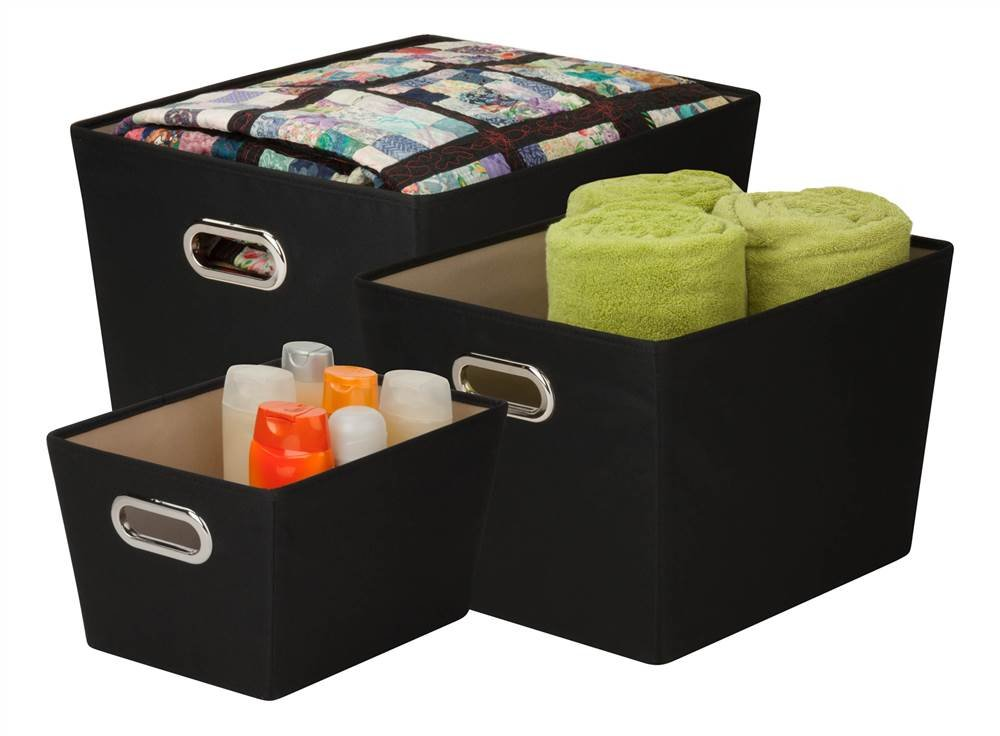 Honey-Can-Do SFTZ03593 Decorative Storage Bin Tote Kit with Chrome Handles, Black, 3-Pack