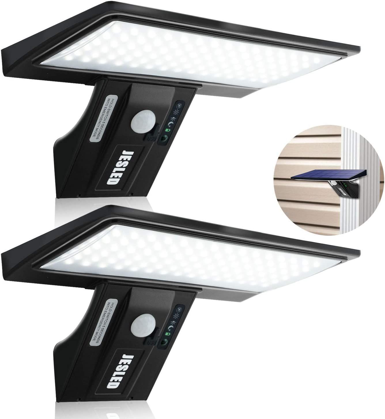 (2 Pack)JESLED Solar Flood Lights Outdoor Motion Sensor, 90 LED Solar Powered Exterior Wall Security Light Waterproof for Garden Yard Patio Dusk-to-Dawn, Bright White USB Charging & Emergency Lighting