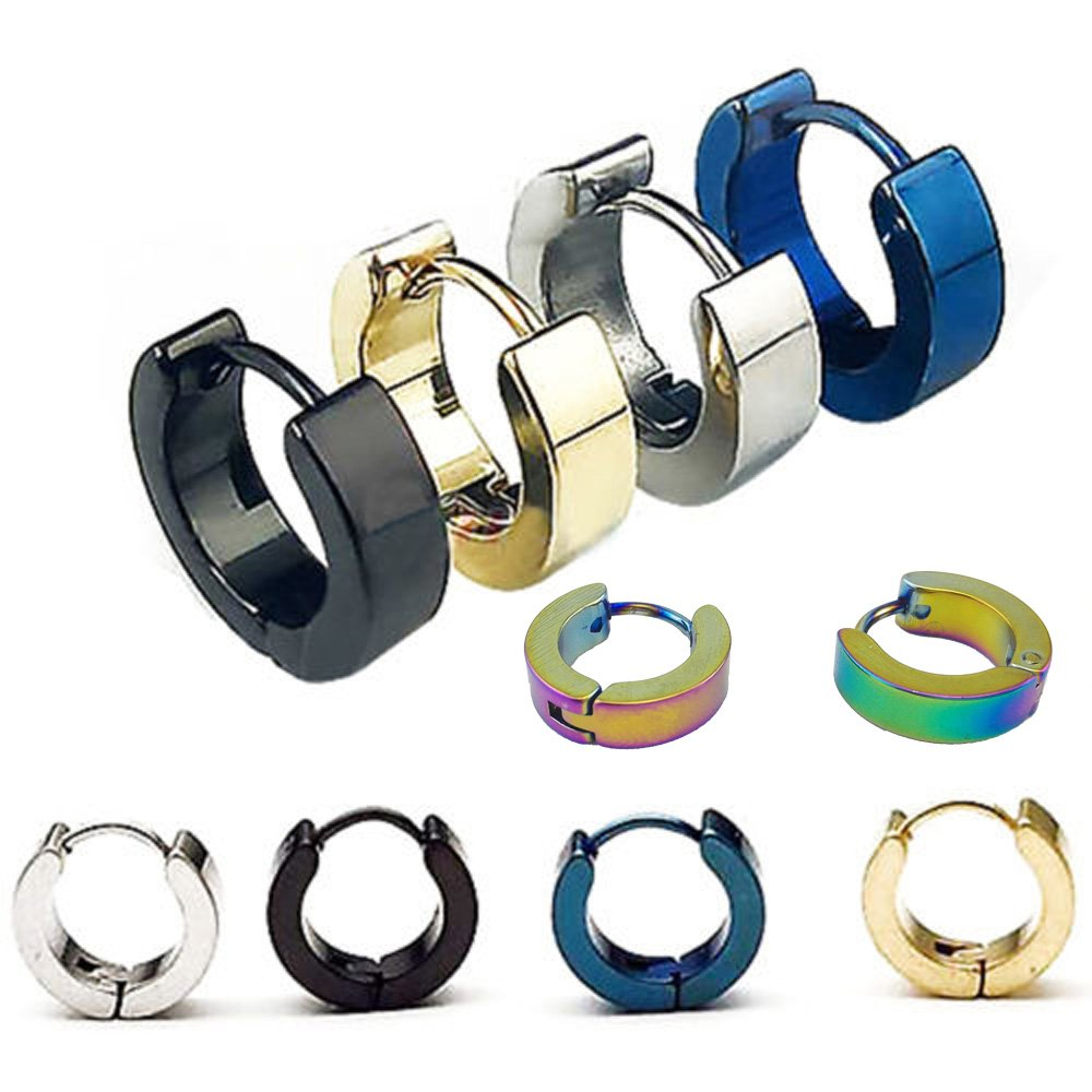 Yueton 5 Pairs Men Unisex Stainless Steel Small Hoop Earrings Ear Stud Blovess 4336826870