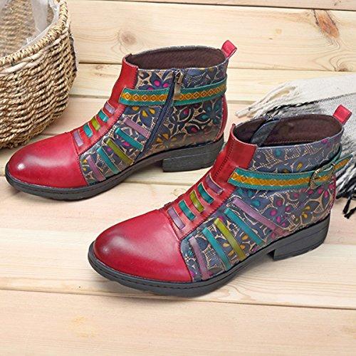 Blume Komfort Lederschuhe Klassische Boots Stiefel Stiefel Ankle Damen Rutsch Kurzschaft ANIT Handmade Kurz Boot Socofy StHqw