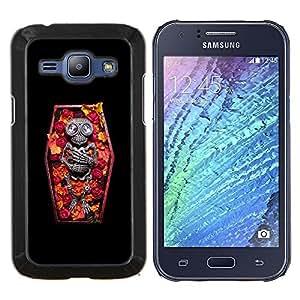 LECELL--Funda protectora / Cubierta / Piel For Samsung Galaxy J1 J100 -- Cráneo ataúd Muerte Diamond Esqueleto --