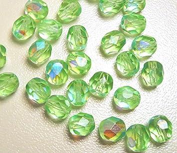 12mm rund Glasschliffperle 10 Stück dunkelgrün
