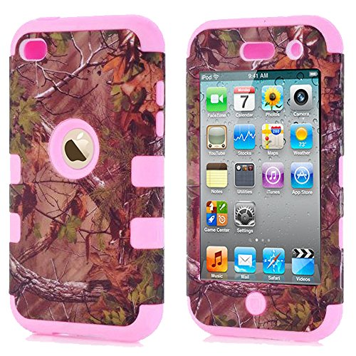 iPod Touch 4 Camo Cases, Kecko Dual Layer Tough Armor Camouflage Hunting Shockproof High Impact Hybrid Silicon Hard Suitable Fit Case Cover for Girls & Boys For ipod Touch 4 4th - Pink