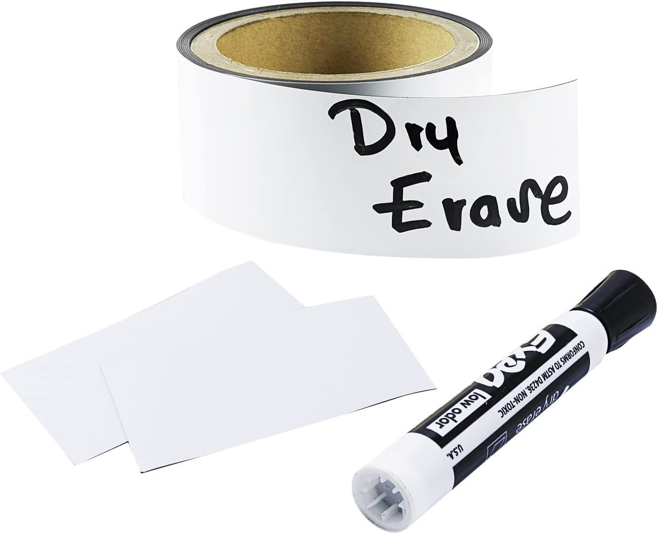 """Houseables Magnetic Strip Rolls, Dry Erase Labels, 2"""" x 10', Magnet, Glossy White, Write On, Wipe Off, Magnetically Receptive Whiteboard Sheet, Business Filing Cabinet Magnets"""