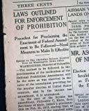 U.S. PROHIBITION 18th Amendment Ratification LAWS Are Outlined 1919 Newspaper THE CHRISTIAN SCIENCE MONITOR, Boston, January 20, 1919