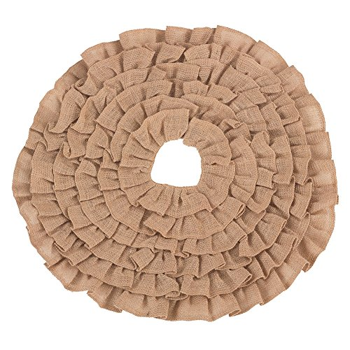 Fennco Styles Ruffled Design Holiday Decor Christmas Mini Tree Skirt (Natural, 21