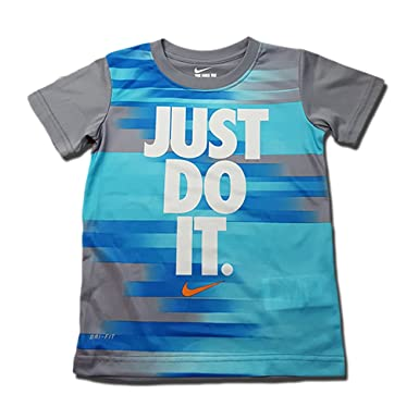 904a60181 Image Unavailable. Image not available for. Color: Nike 'Just Do It' Cool  Grey Graphic Print Boys Shirt ...