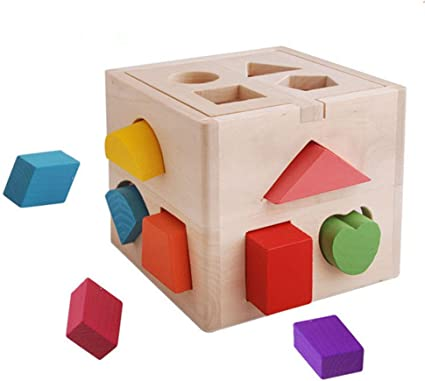 Kids Toddler Wooden Blocks Shape Color Matching Educational Toys W