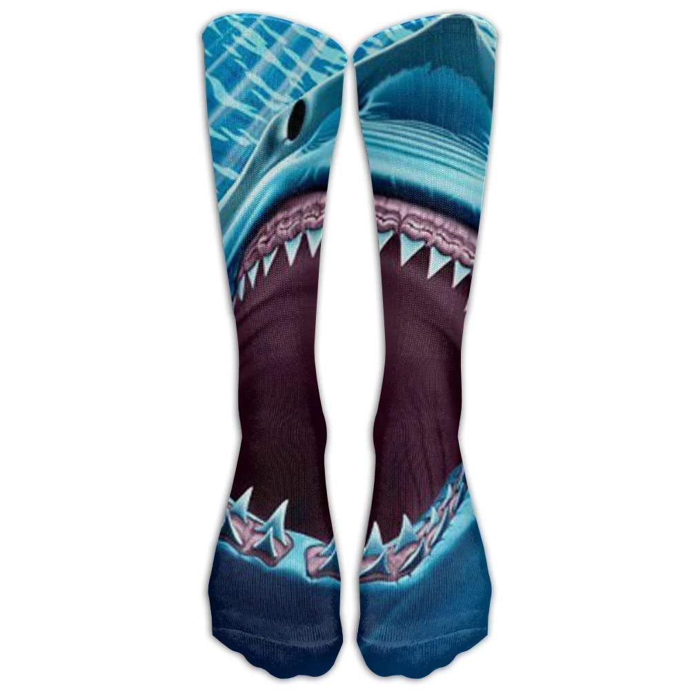 Long Great White Shark Teeth Socks Women's Winter Vintage Cotton Wool Knit Long Crew Socks
