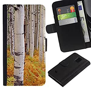For Samsung Galaxy S5 Mini / Galaxy S5 Mini Duos / SM-G800 !!!NOT S5 REGULAR! ,S-type® Ferns Birch Trees Nature Yellow - Dibujo PU billetera de cuero Funda Case Caso de la piel de la bolsa protectora