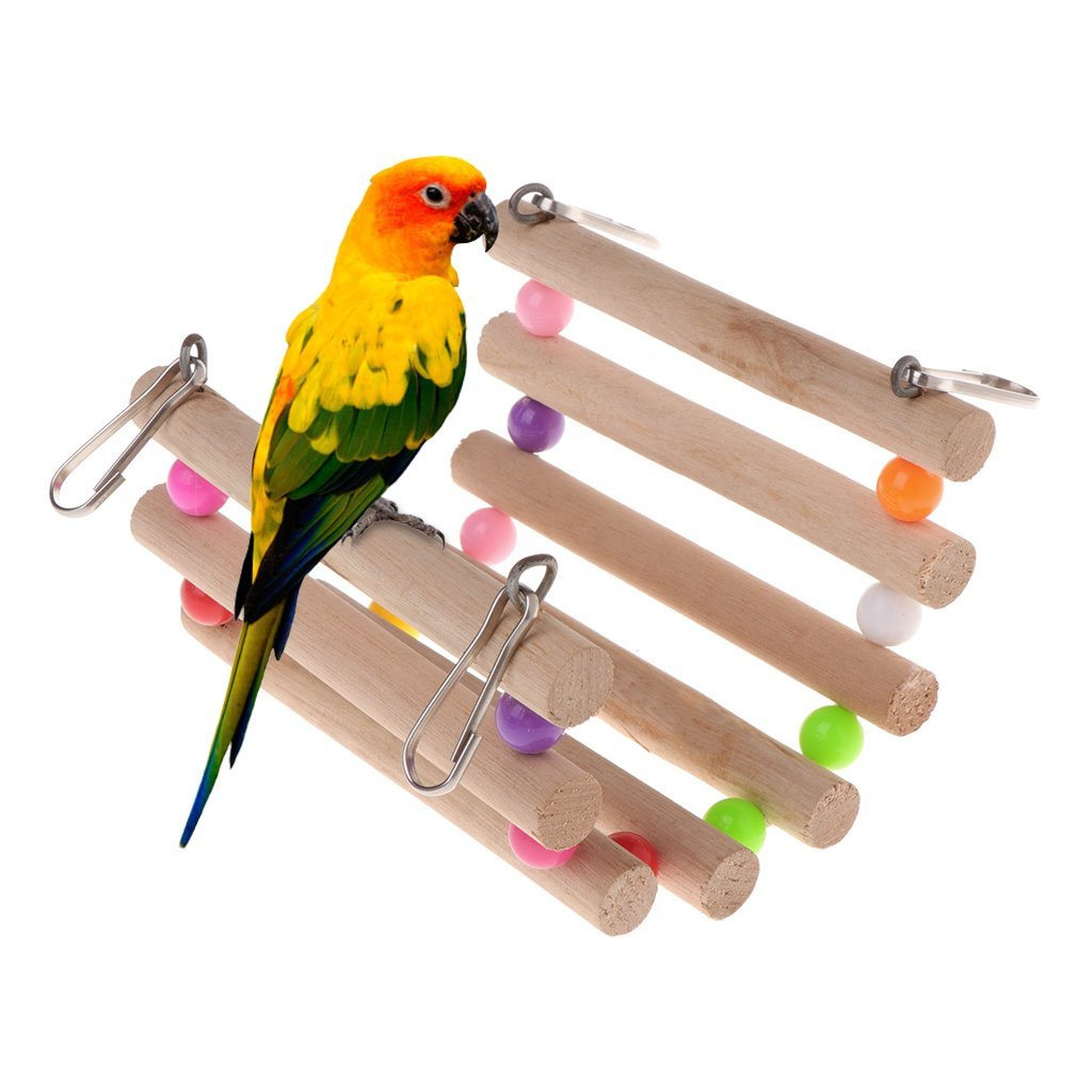 Parrot Toys Wooden Ladder Stair Stand Holder Birds Creative Bridge Colorful Bead Premium Quality by Yevison