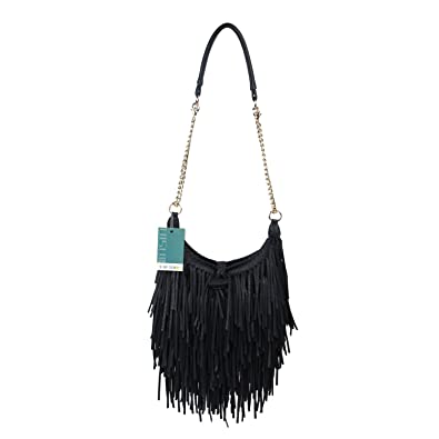 eb7855eff8 LUI SUI Women s Fashion Fringed Shoulder Bag Tassel Cross Body Bags (Black)