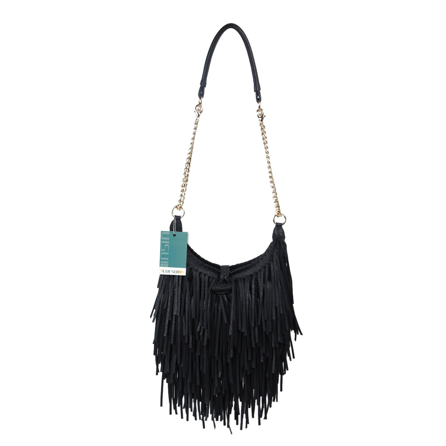 LUI SUI Women's Fashion Fringed Shoulder Bag Tassel Cross Body Bags (Black)