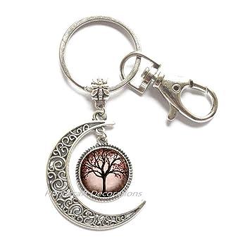 Llavero con forma de luna y árbol, llavero con forma de luna ...