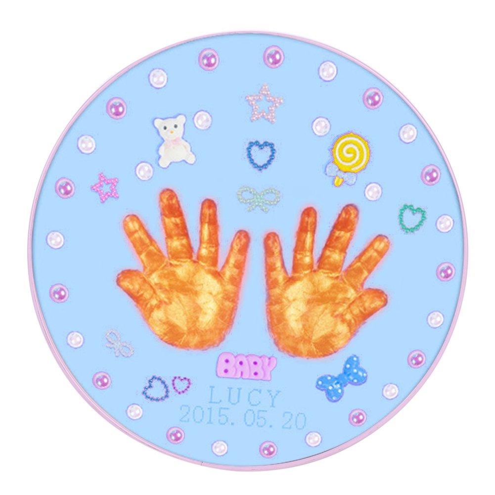Cadre Photo Empreinte Bébé Kit Moulage Empreintes Pieds Mains Magic Argile Non-toxique Mémoires Souvenir Naissance Bebe Cadeau de Noël Anniversaire Baptême, Cadeau Parents pour Fête des Pères/Mères QICHENGUK