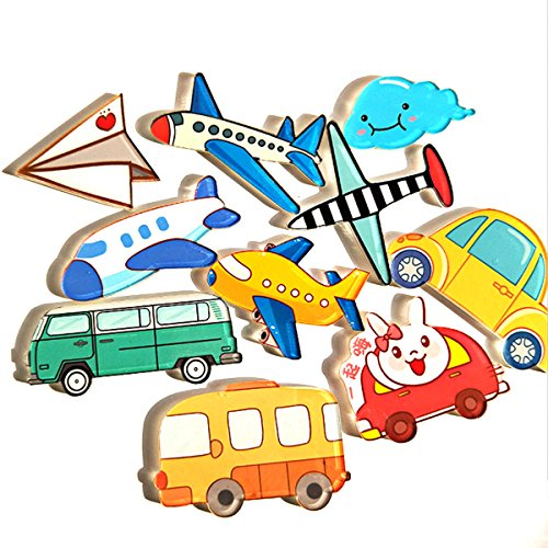 10 Piece Airplane Car Fridge Magnets Stickers Magnets Refrigerator Magnet Kitchen Magnets Cute Magnets Decorative Magnets(Airplane Car)