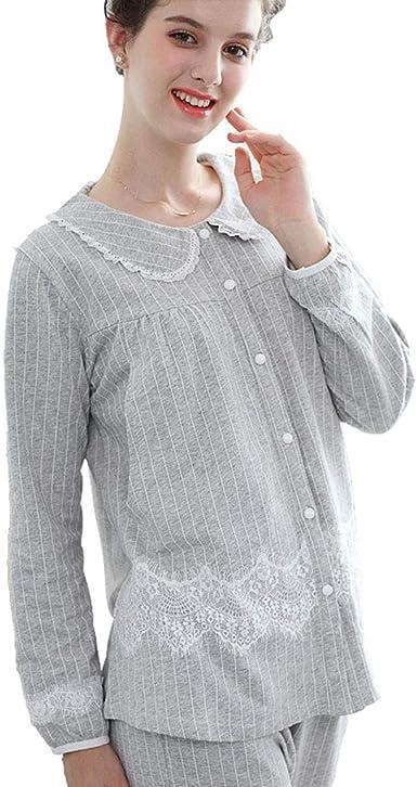 Pijamas de Maternidad para Mujer de algodón camisón de Manga ...