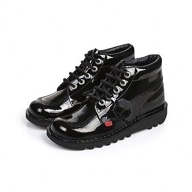 huge selection of 32874 0a89e Kickers Kick Hi Patent Leather Kids Teen School Shoe Black (UK 3)