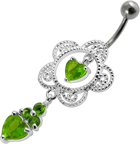 CZ Crystal Stone Double Teardrop Floral Dangling 925 Sterling Silver Belly Ring Body Jewelry