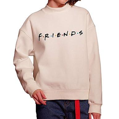 Sudadera para Mujer - Friends Manga Larga Pullover Cuello Redondo Elegante Suelto Jersey Suéter Otoño Invierno Sudadera Tops Blusa: Amazon.es: Ropa y ...