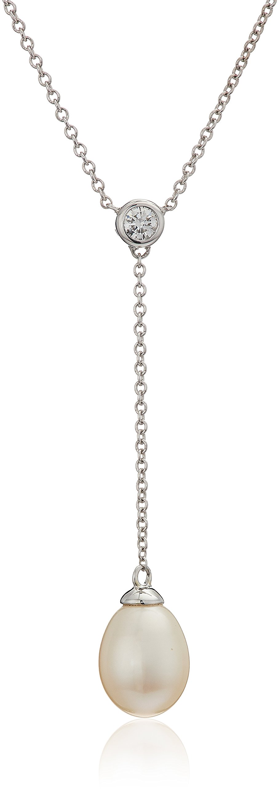 14k White Gold 7.5-8.0mm Cultured Freshwater Pearl Y-Shaped Necklace (1/10 cttw, H-I Color, I1-I2 Clarity)