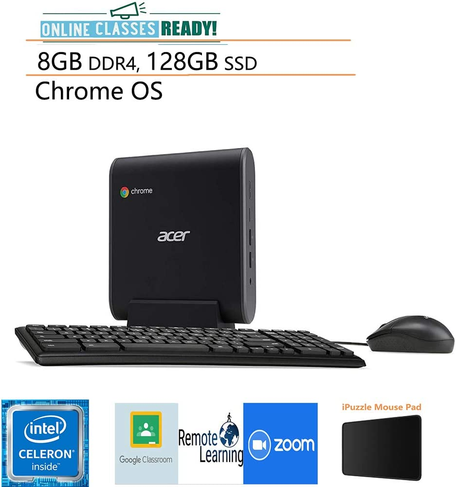 Acer Chromebox CXI3 Mini PC Desktop Computer/ Intel Celeron 3867U Processor 1.8GHz/ 8GB DDR4/ 128GB SSD/ Online Class Ready/ USB Type-C/ Keyboard and Mouse Included/ Chrome OS/ iPuzzle Mousepad
