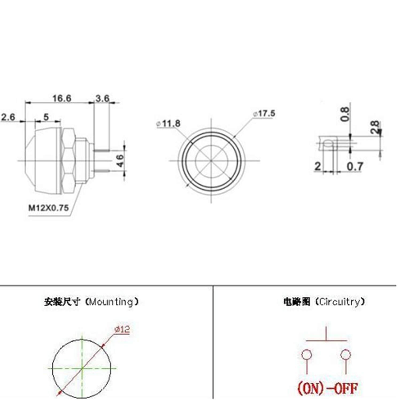 10Pcs 12mm Waterproof Momentary Push Button Switch ON DIYhz Push Button Switch Off Switch,Red