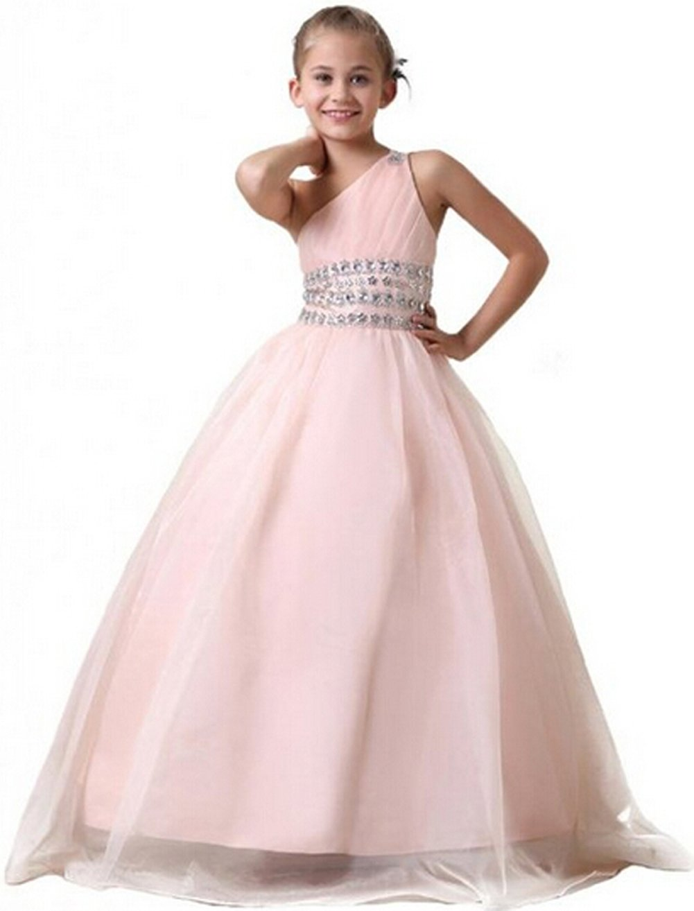 BFB Big Girls' Ball Gown Flower Appliques Wedding Pageant Dresses (8, Light Pink)