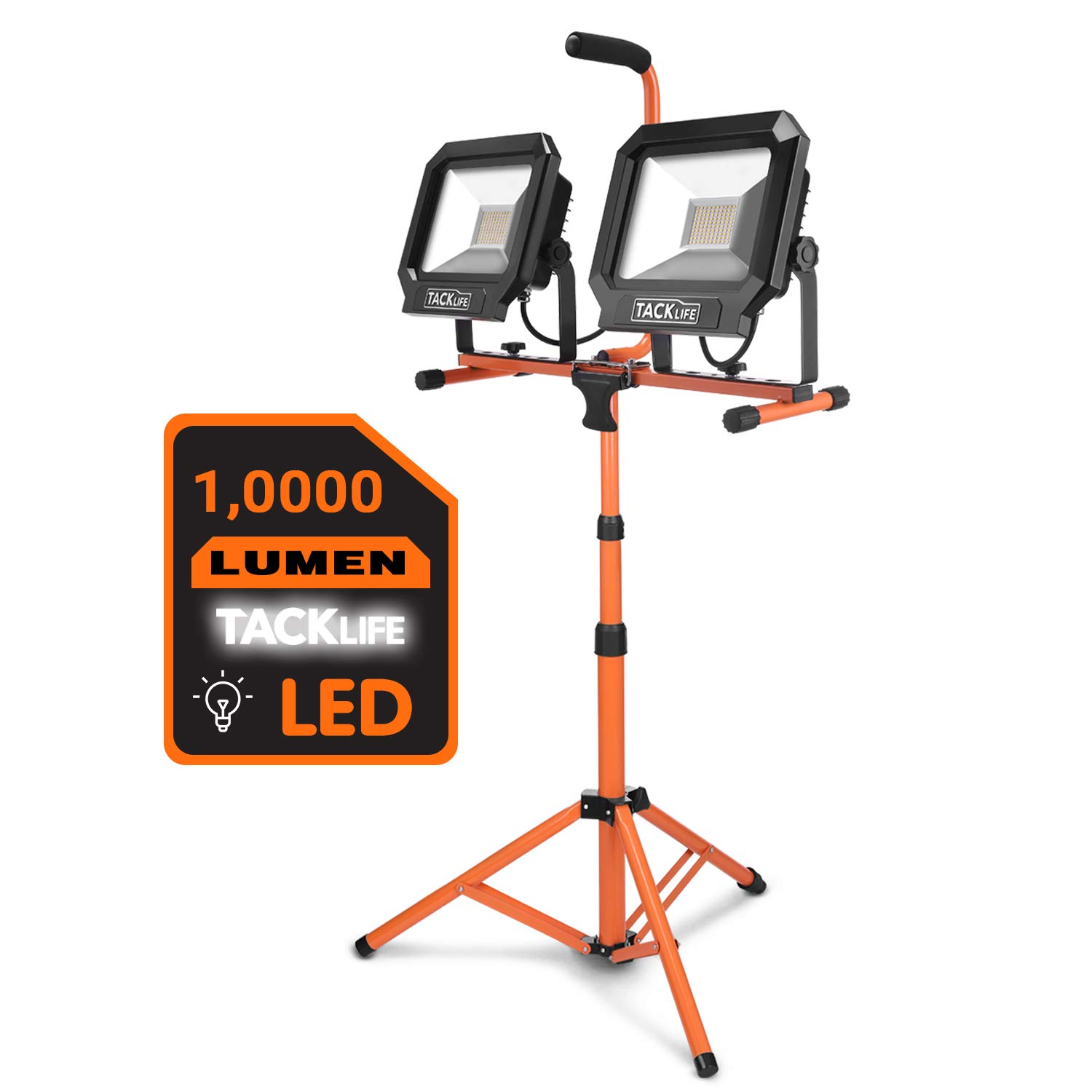 TACKLIFE 10000 Lumen Tripod LED Work Light with Two-Head Total 100W Work Lights, Metal Telescopic Tripod Stand, Rotating Waterproof Lamps and 16.5 Ft AC Power Cord by TACKLIFE