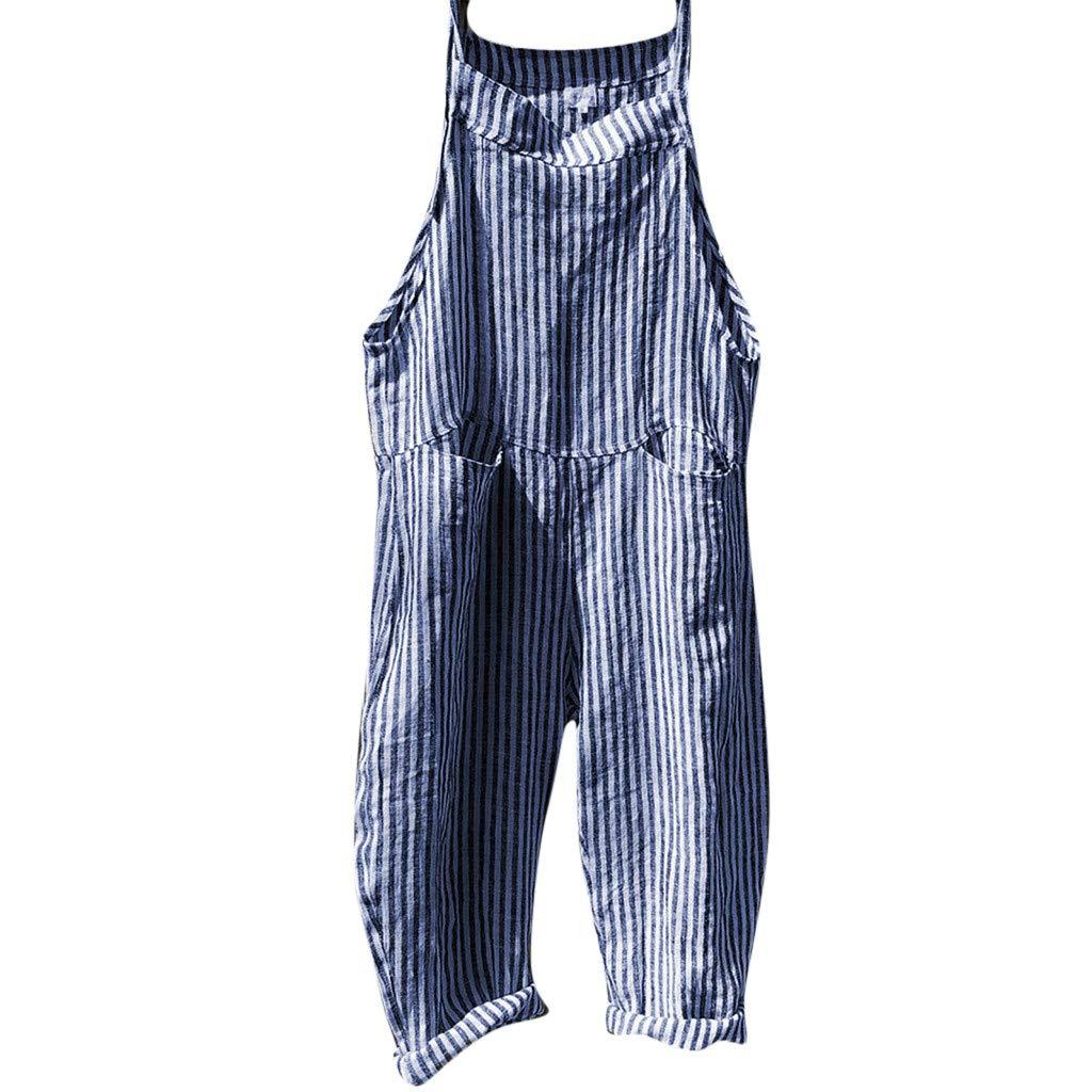BCDshop Women Casual Loose Sleeveless Pocket Striped Print Overalls Romper Jumpsuit Pants (L, Blue) by BCDshop_Pants