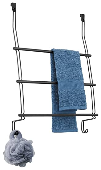 mDesign Over Shower Door Towel Rack for Bathroom - Matte Black