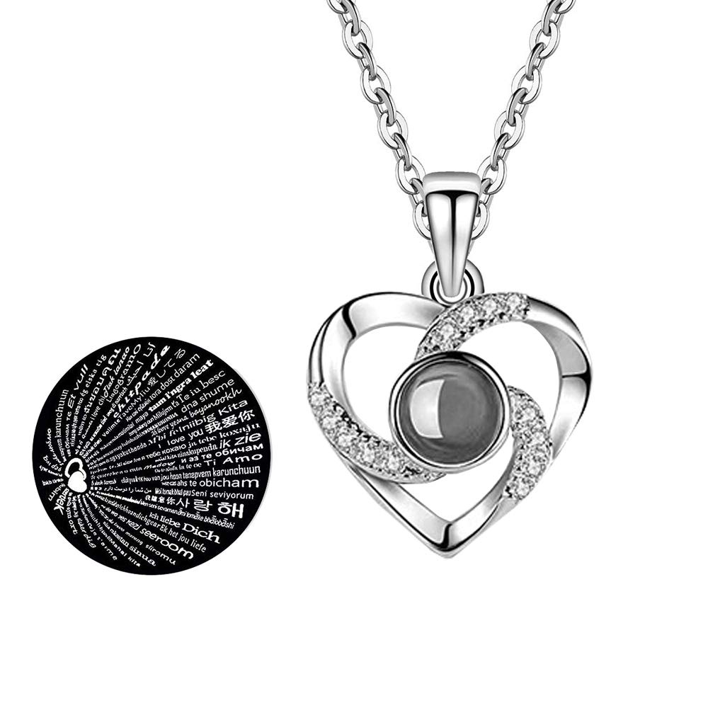 Hantaostyle I Love You Necklace, 925 Silver 100 Languages Projection on Round Onyx Pendant Loving Memory Collarbone Necklace(925 Silver Heart-Shaped Silver)