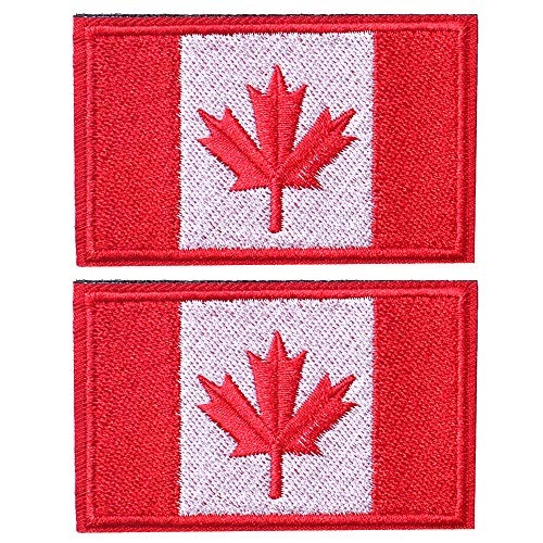 SHELCUP 2 Pcs Canada Flag Patches, Tactical Tags Morale National Emblem Patch for Backpack, Hats, Jackets, Team Uniform, Red