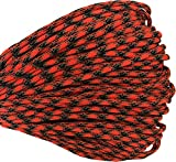 550 Paracord / Parachute Cord, 100 Metters(328 feet), 800 lb Tensile Strength, Type III Paracord, 7 100% Nylon Core Strands Each Twisted from 3 Individual Strands, 5/32''(4mm) Diameter Carnage Red