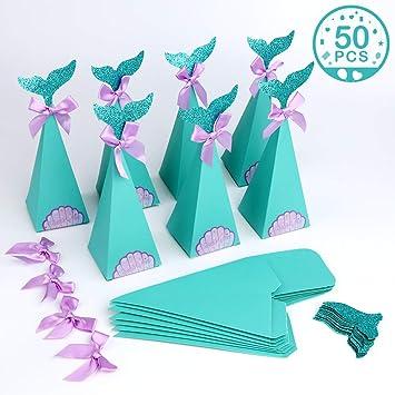 AerWo 50 cajas de regalo de sirena para fiestas, caja de caramelos con purpurina,