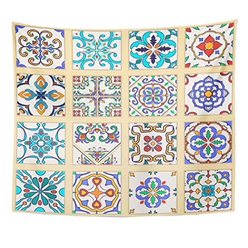 y Blue Flower of Portuguese Tiles Collection Colored Patterns and Azulejo Spanish Moroccan Ornaments Orange Arabesque Wall Decor Wall Hanging Picnic Bedsheet Blanket 60x50 Inches ()