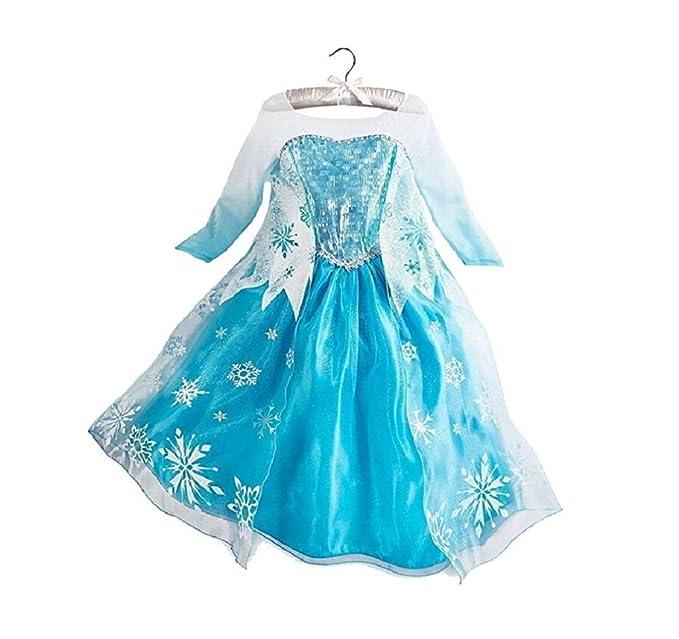 Disfraz de Reina del Hielo / Princesa de Nieve para niñas - Disfraz con impresión de Copos de Nieve - Azul/Plata/Blanco - Talla 120 (110-116)