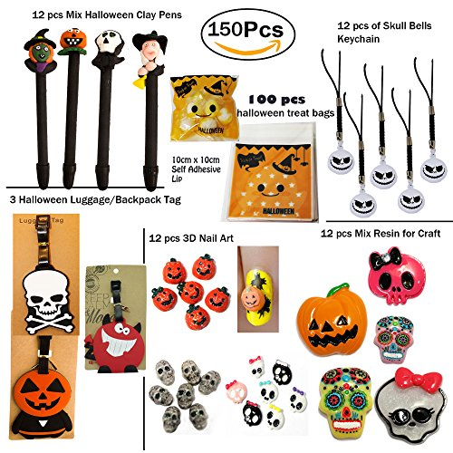 ZIVO TM 150 Pieces Halloween Toys Assortment for Halloween Party Favor, School Classroom Rewards, Trick or Treating (Pens, Luggage Tags, Cello Treat Bags, Resin Cabochons, 3D Nail (Halloween 3d Nails)