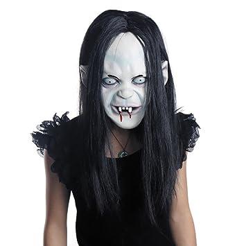 LUOEM Halloween Horror Grimace Ghost Mask Peluca de Pelo Largo resentimiento Sadako Ghost Peluca Espeluznante máscara