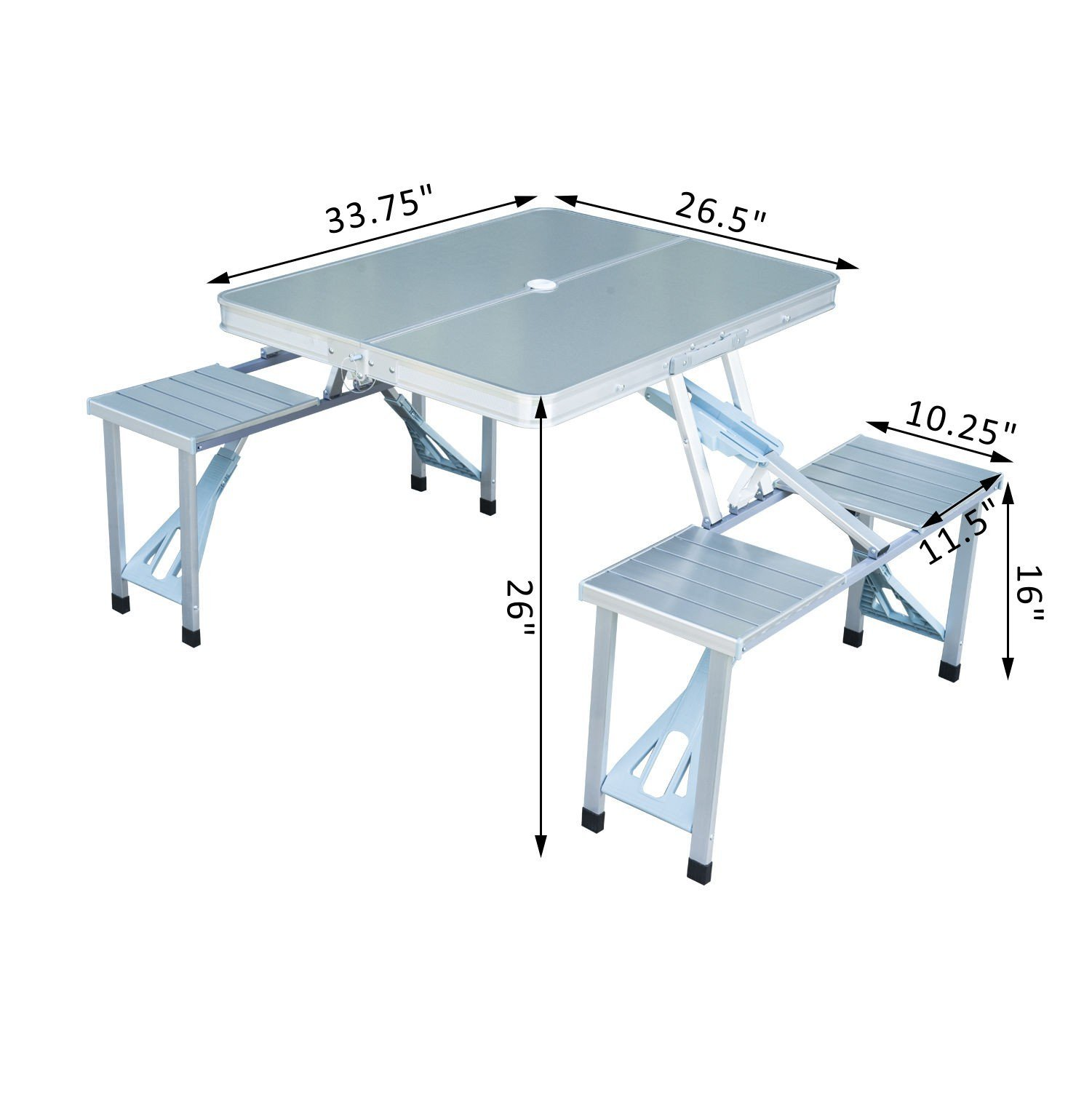 Outdoor Aluminum Portable Folding Camping Picnic Table W/ 4 Seats With Ebook