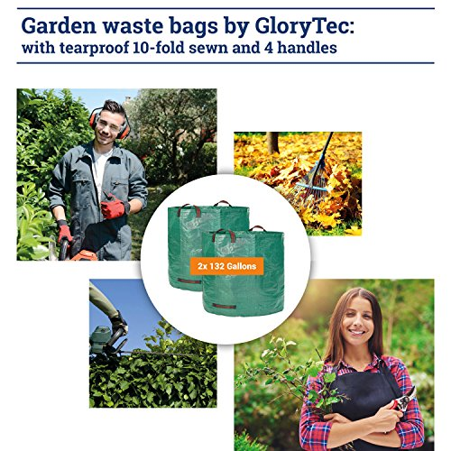 Glorytec 2-Pack Garden Bags - 132 Gallons Leaf Bag - Price-Performance Winner 2018 - Large Reusable Gardening Bagster with 4 Handles - Collapsible Lawn and Yard Waste Containers by Glorytec (Image #6)