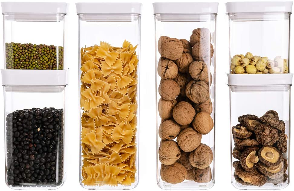Square Airtight Food Storage Containers with Lids, BPA Free Plastic Clear Kitchen Pantry Organization Containers, Great for Flour, Sugar, Cereal 6PCS