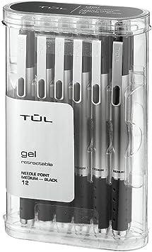 Black 12pk by TUL TUL GL1 Gel Pen Retractable Needle Point Medium 0.7mm