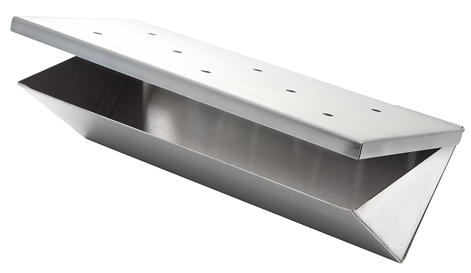 Stainless Steel Wood Chip Smoker Box V-Shaped Flap by Allgrill®