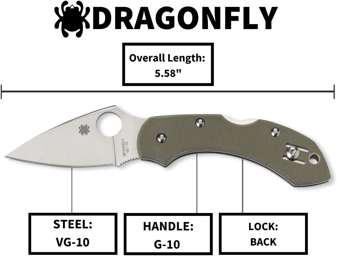 "Spyderco Dragonfly Signature with 2.28"" VG-10 Steel Blade and Durable Foliage Green Handle"