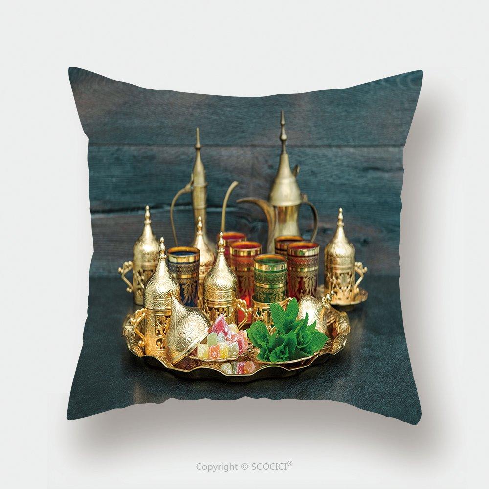 Custom Satin Pillowcase Protector Oriental Tea Coffee Table Golden Dishes With Delight And Mint Ramadan Kareem Eid Mubarak Vintage 640559848 Pillow Case Covers Decorative by chaoran