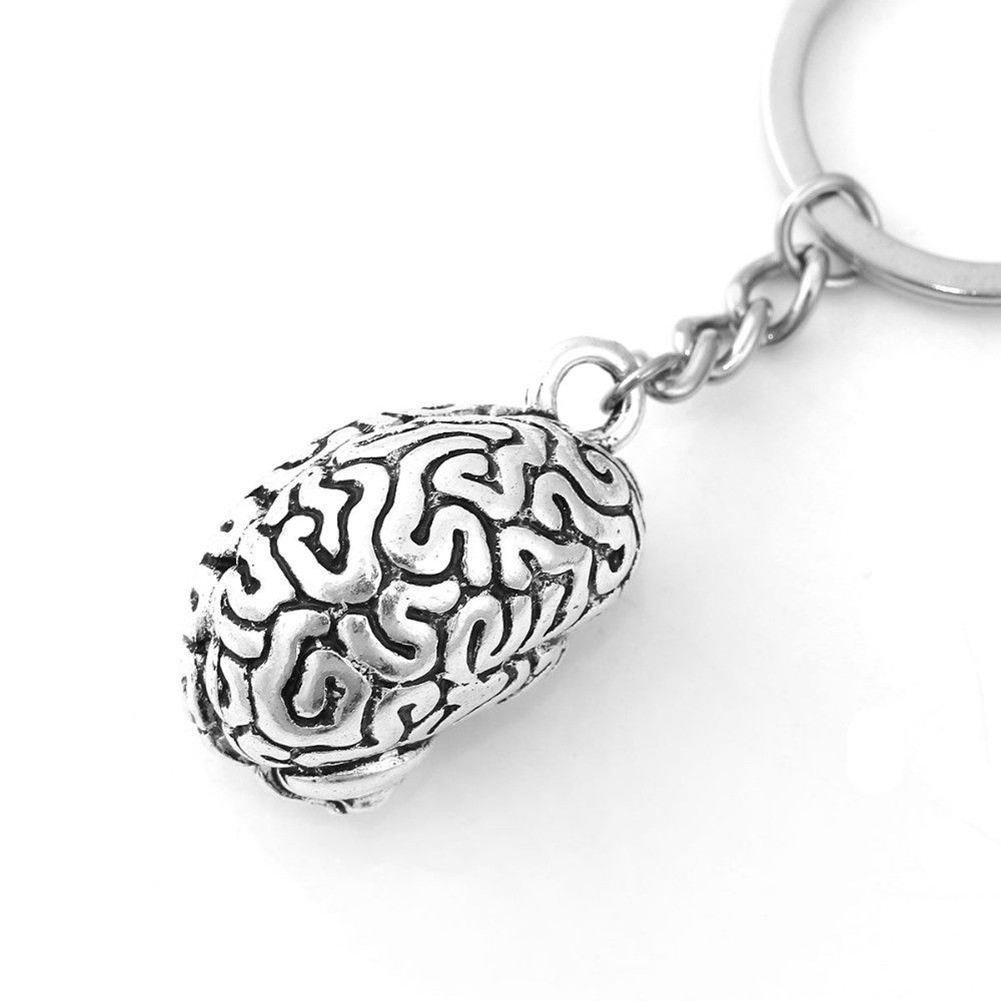 REFURBISHHOUSE Llavero Cerebral Cadena Anillo de Llave Ci Brainiac Inteligente de aleacion Medicina Humana