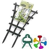 GREENWISH 4pcs 9x3inch Mini Plant Trellis Plastic Garden Plant Support DIY Climbing Trellis Flower Supports Dark Green