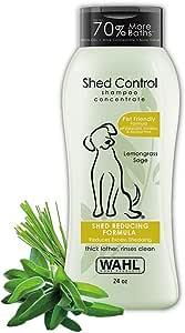 Wahl Shed Control Pet Shampoo for Animal Shedding & Dander – Lemongrass, Sage, Oatmeal & Aloe for Healthy Coats & Skin – 24 oz