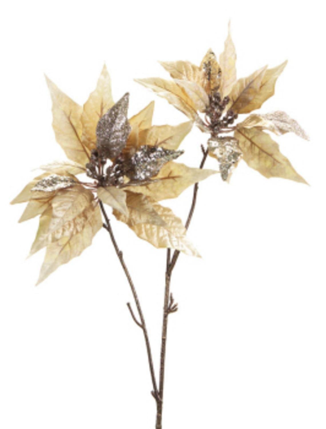 Champagne Silver Poinsettias Pack of 6